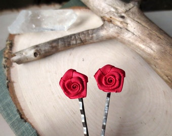 Red Rose Hair Pins - Small Flower Hair Bobby Pins - Fabric Hair Pin