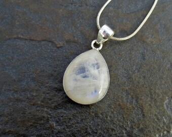 Silver Rainbow Moonstone Pendant, Moonstone Necklace, Rainbow Moonstone Jewelry, June Birthstone, Gift for Her