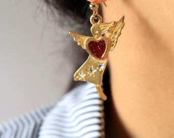 Gold Angel Drop Earrings - Red Heart Drop Earrings - Crystal Angel Earrings