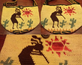 Handmade Kokopelli Desert Scene Bag - READY TO SHIP