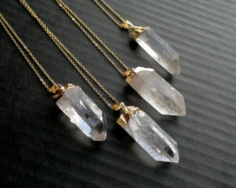 Quartz Crystal Necklace Raw Quartz Crystal Pendant Crystal Gold Dipped Quartz Clear Quartz Long Rough Crystal Point Mineral Jewelry