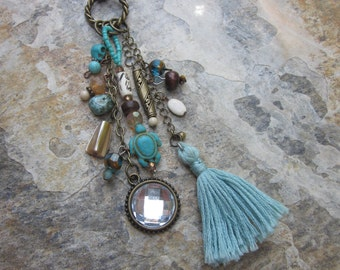 rear view mirror car charm turquoise sea turtle shell sparkling glass beads bohemian skull rear view mirror boho car charm  beach accessory