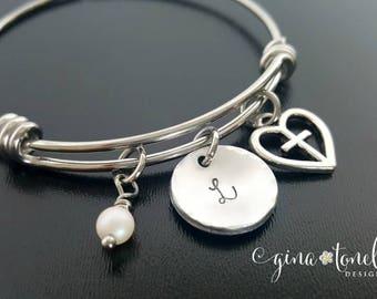 First Communion Bracelet, Confirmation Bracelet, Religious Jewelry, Cross Charm Bracelet, Personalized Initial Bracelet, Catholic Jewelry
