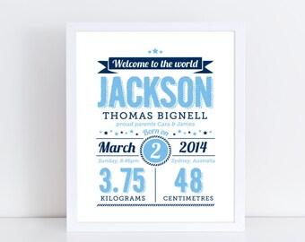 Personalised birth details print / Baby birth print / Baby birth stats / Nursery decor / Nursery wall art / Boy nursery art / Blue & navy