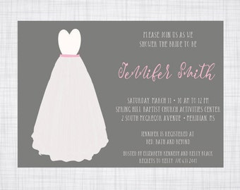 Bridal Shower Invitation. Watercolor Dress Invitation.