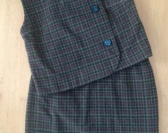 1960s Custom Made Rich Brown/Moss Green Plaid Wool Knit Cropped Vest and Pencil Skirt/xxs