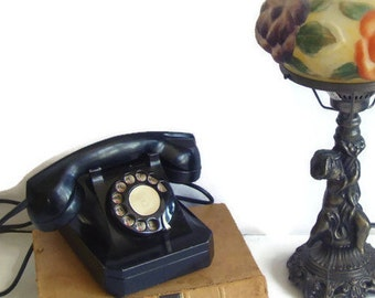 Antique Telephone, Working, Stromberg Carlson, Extension Phone, Model 1243, Desk Phone, Modernized, Bakelite, Cloth Cord, Landline Extension