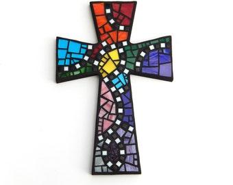 "Mosaic Wall Cross, Large, Black with Rainbow Glass, Handmade Stained Glass Mosaic Cross Wall Decor, 15"" x 10"""