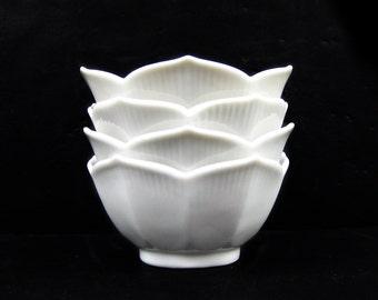 Vintage Set of Four Small White Lotus Bowls