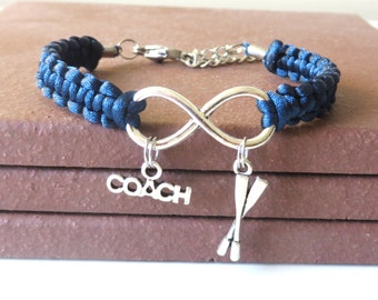 Crew Rowing Coach Athletic Charm Infinity Bracelet With Oars and Coach Charm You Choose Your Cord Color(s)