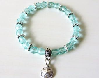 Sterling Silver Sand Dollar Ocean Light Aqua Sea Blue Stretch Bracelet