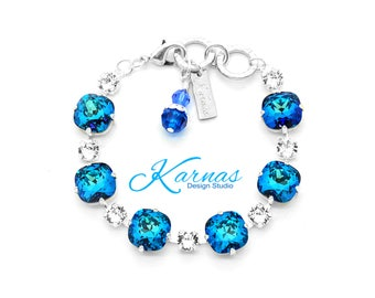 BERMUDA BLUE & CRYSTAL 12mm/6mm Crystal Bracelet Made With Swarovski Elements *Pick Your Finish *Karnas Design Studio *Free Shipping*