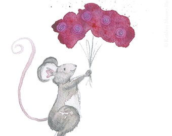 Mouse with flowers greeting card, Valentines card, Mother's Day card, thank you card (blank inside)