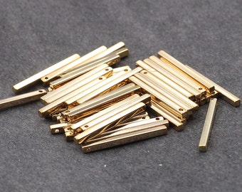 10 Pieces Gold Plated Bar Pendants For Jewelry Making Craft Supplies Wholesale Charms CQA-036-7103