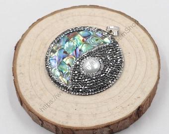 Abalone Shell Pendant -- Sea Paua Shell Pendant For Necklace Making YHA-263