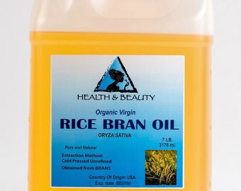 7 Lb, 1 gal RICE BRAN OIL Organic Carrier Unrefined Cold Pressed Virgin Raw Pure