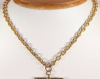 Edwardian 15k Gold Watch Chain Necklace