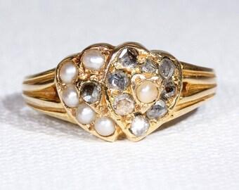 Antique Double Heart Diamond Pearl Ring Hallmarked 1870