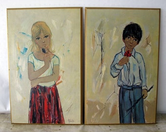 Rare Pair of Vintage Turner Wall Accessories / Wall Art / Wall Hangings of a Little Boy and Little Girl Holding a Flower