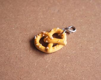 Pretzel Charm - Miniature Food Jewelry, Polymer Clay Food. Inedible Jewelry. Oktoberfest.