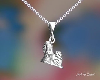 """Sterling Silver Shih Tzu or Lhasa Apso Necklace 16-24"""" or Pendant Only"""