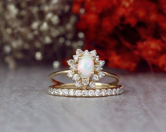 SET: Opal Engagement Ring and 1.9MM Diamond Band | Celestial Diamond Halo | Matching Set | Solid 14K Gold | Fine Jewelry | Free Shipping