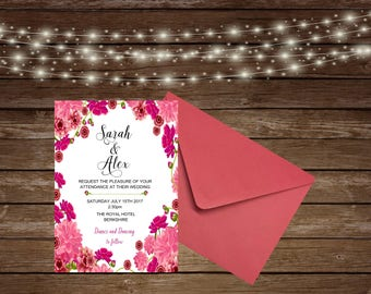 Printed Wedding Invitations/Floral Wedding Invitations/Blue Wedding Invitations/Personalised Invitations/Personalised wedding invites