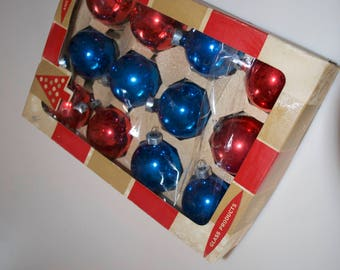 """Vintage Red & Blue Glass Ball Christmas Ornaments Box Set of 12 2"""" by Coby"""