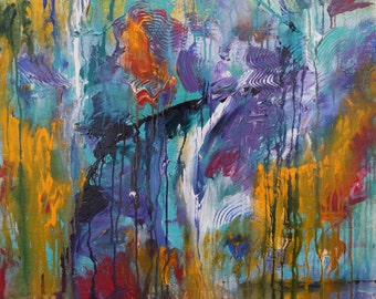 Colored Rain, Original Acrylic Painting, Abstract Painting, Purple, Green, Teal, Orange, Large, Impressionistic