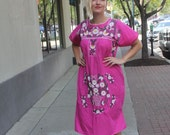 Pink Daisy print embroidered dress