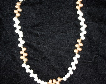 White and Gold Fresh Water Pearl Necklace