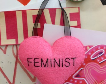 Home decor hanging heart plushie pink FEMINIST