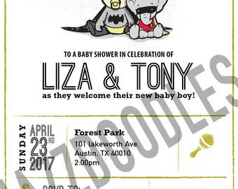 Printable Bat Baby and Robin baby shower invitation