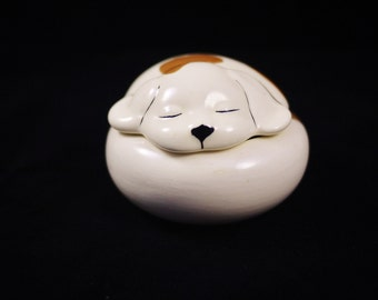 Vintage Little Sleeping Dog Ceramic Trinket Box