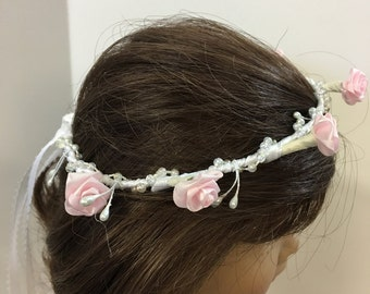 "SALE -Pretty Doll HEAD PIECE for Any Special Occassion,Everyday Fun, Wedding Flower Girl, Bridesmaid, 1st Communion, Fits 15"" and 18"" Dolls,"