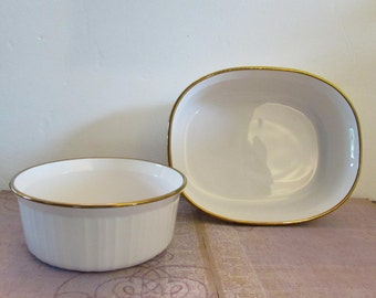 Vintage Corning Ware French White with Gold Trim Casserole Dishes F-5-B 1.6 Liter and F-2-B 2.8 Liter Made in USA