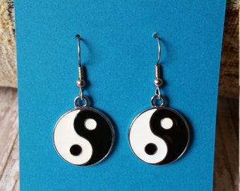 Yin Yang Charm Dangle Earrings - Flat Rate Shipping in US!  Great Gift or Treat Yourself