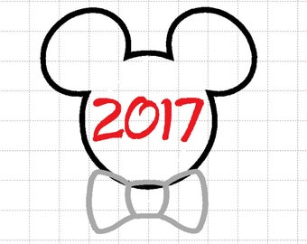 2017 Mickey Mouse with Bow (4 Sizes) Disney Full Applique Head Digital Embroidery Design ~ INSTANT DOWNLOAD ~ 4x4, 5x7, 8x8 and 6x10 Sizes