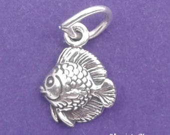 TROPICAL FISH Charm .925 Sterling Silver MINIATURE Small - elp632L