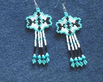 Seed bead earrings, beaded jewelry, beaded earrings, fringe earrings, turquoise, gemstone,  Native American inspired, southwestern, boho