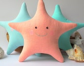 Fabric Star Fish toy, star fish pillow. Coral Star, Sea animal, cute baby softies, nursery toy and decor. Coastal, nautical theme, nice gift