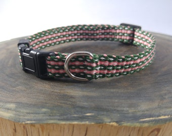 Breakaway Cat Collar - Handwoven; Safety buckle; Adjustable  - Spruce pink white; Optional tag