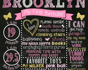 First Birthday Chalkboard Poster Girl Customized 1st Birthday Chalk board Custom Printable Sign Pink Gold White