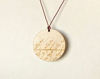 Wooden Necklace | Wooden Charm Necklace | Birch Wood Pendent | Modern Jewelry | Wooden Jewellery | Long Necklace | Laser cut