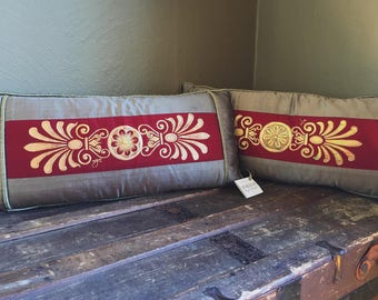 Taupe & Burgundy Silk Hand Painted Decorative Pillows