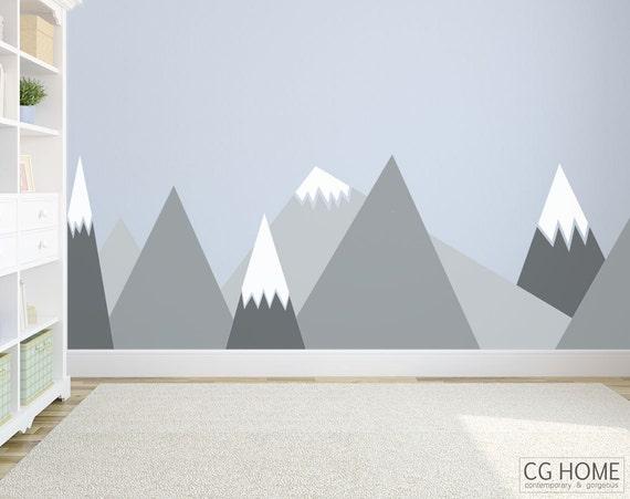 Gray MOUNTAIN Triangle Entire Wall Decal Wall Protection Headboard Woodland Kids Toddler Room Washable Customized Sticker Nursery