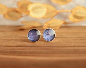 Purple earrings, hand painted waterproof round sterling silver ear studs, little 7 mm ear dots, purple jewelry, gift for her in jewelry box