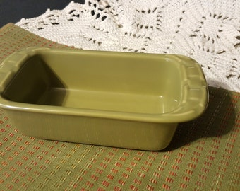 Longaberger Pottery Mini Loaf Pan Woven Traditions Sage Green