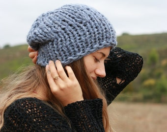 Blue chunky knit beanie, slouchy women's winter hat, hand knit soft and warm hat,  faded slate blue beanie, ready to ship