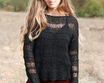 Black hand knit open weave sweater loose knit summer sweater